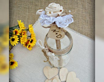 Rustic Guest Book Pen Personalized Wedding Pen Flowers