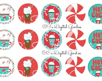 INSTANT DOWNLOAD-One Inch 4x6 Bottlecap Image Sheet-Hot Chocolate-Cocoa-Peppermint-Mocha-Winter-Candy Cane-1 inch
