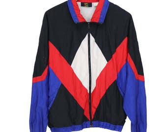 Vintage 80s 90s GFC Multi-color Windbreaker Jacket