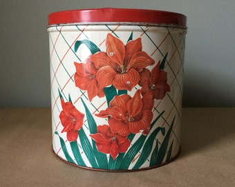 Tin Canister Red Amaryllis Large Kitchen Vintabe Canister