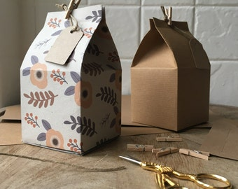 Recycled Gift Box pack of 6, DIY mini milk carton gift box kit. Eco-friendly gift-wrap. Party favour/treat boxes.