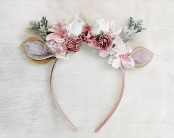 Forest Fawn Floral Crown Headband, photography prop, special occasion, first birthday