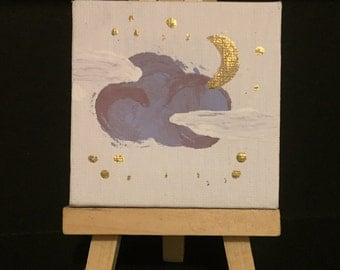 Mini Moon and Cloud Painting