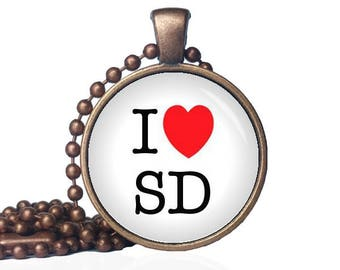 I Love South Dakota - I Heart SD - I Heart South Dakota - State Love - South Dakota Necklace - State Necklace