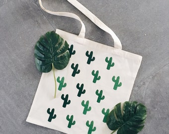 Cactus plants tote bag canvas green
