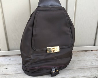 Vintage Brown Nylon Backpack Purse