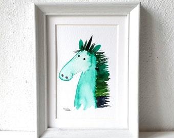 watercolor unicorn, teal unicorn painting, original art, unicorn illustration, art postcard, rainbow colors, unicorn nursery decor, horse