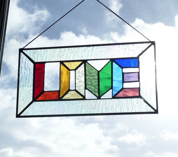 Love Rainbow Stained Glass Window Panel By Naomisstainedglass