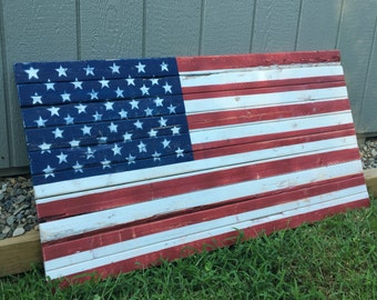 Rustic Wooden American Flag Wall Decor