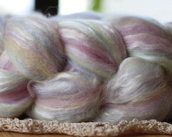 NZ merino and silk blend-22 micron, SORBET, 3.5 oz (100 grams) of luxurious soft fiber for spinning, felting or fiber art.