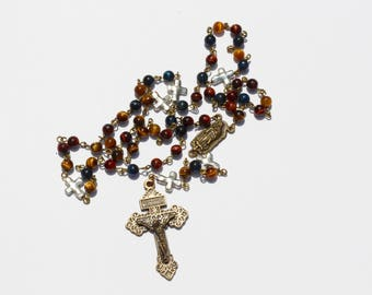 Hand-Made Catholic Rosary - Tigerseye