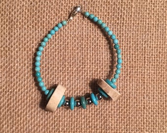 Turquoise Bead Bracelet with Antler Beads and Silver Accents