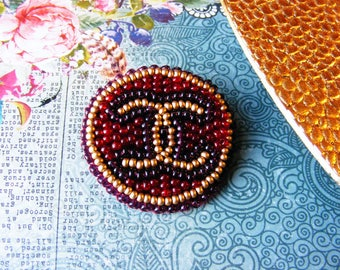 Chanel ornaments, Elegant broosh, Beaded jewelry, Embroidered decoration, Only one, Handmade