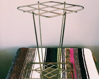 Vintage Gold Metal Plant Stand / Small Side Table