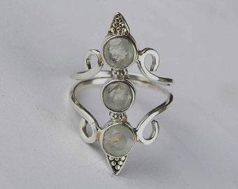 Solid 925 Sterling Silver Natural Moonstone Gemstone Ring, Healing Ring, Boho Ring