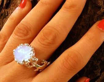 Moonstone Ring, Natural Rainbow Moonstone Gemstone Ring, 925 Sterling Silver Ring, Healing Crystal Ring, Birthstone Ring, Moonstone Jewelry