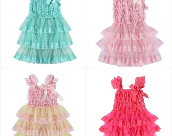 Toddler lace layered dresses