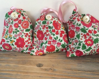 Liberty fabric drawstring lavender bag