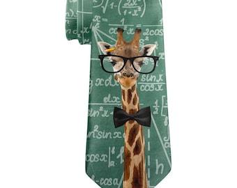 Giraffe Geek Math Formulas All Over Neck Tie