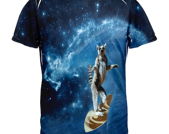 Surfing Lemur IN SPACE All Over Adult T-Shirt