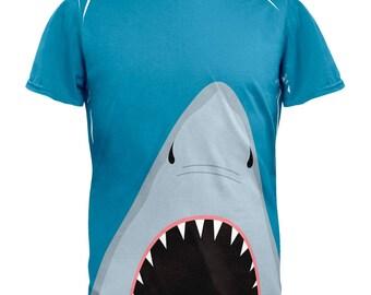 Summer Shark Attack Teeth All Over Adult T-Shirt