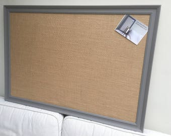 Giant hessian pin board. Hessian bulletin board Hessian memo board Hessian message board Grey pin board Grey cork board. Fabric notice board