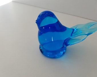 Handblown Glass Bluebird of Happiness signed by Leo Ward