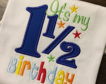 My 1 1/2 Birthday Shirt // One & Half Shirt // Monogrammed Birthday Shirt // Milestone Shirt // Girl Birthday