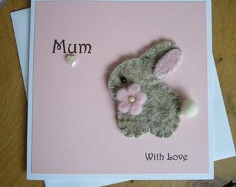 Birthday card Mum - Mothers Day card - Mum Easter Card - Bunny Rabbit Card