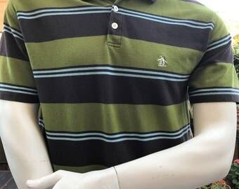 an original Penguin by Munsingwear  Vintage Penguin Striped polo XL  Penguin Cotton Polo Shirt