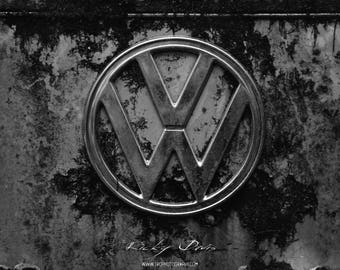 VW Bus Rusted Logo Photographic Art Print