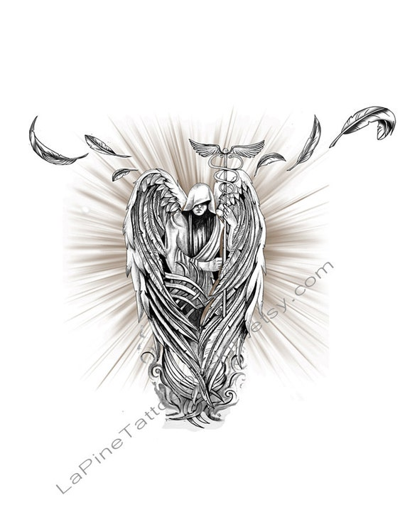 archangel raphael with caduceus staff tattoo design. Black Bedroom Furniture Sets. Home Design Ideas