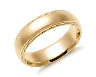 14K Gold Classic Millgrain Wedding Band - 7mm (Yellow or White Gold)