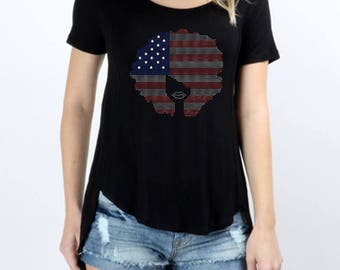 Afro USA Flag Rhinestones Short Sleeve Scoop Neck Hi-Low Top