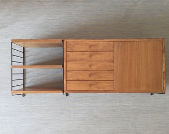 Mid century 60's string shelf with Cabinet element