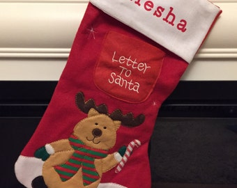 Personalised Christmas Stocking - Letter to Santa Stocking (Reindeer or Father Christmas Design)