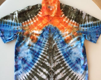 Tie Dye Handcrafted Button Up Shirt Size: XL