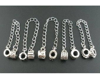 Pack of 5 Silver Designed Safety Chain Charm Beads For Charm Bracelets