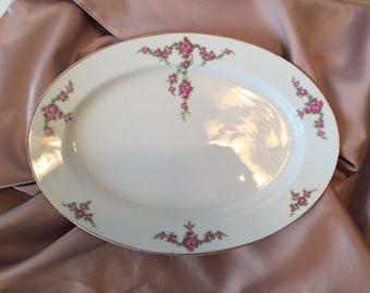 Vintage Serving Platter, 1930s H&C Heinrich Rosalinda China, Cottage Chic China, Selb Bavaria, Red Roses