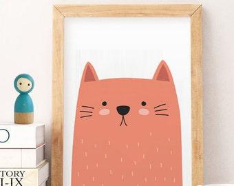SALE Nursery Cat Print - Cat Art Printable, Cat Wall Poster, Nursery Cat Art, Nursery Kitten Print Cat Art Print Cat Wall Art Nursery Prints