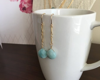 Amazonite drop earrings; gold-filled dangle amazonite earrings, semi-precious stones, light blue stone earrings