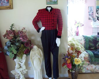 J.D. Stone Jumpsuit, Made in USA, Red & Black Plaid w/Black Velour Collar and Cuffs, Size 12 Petite