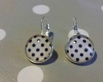 Earrings white Rockabilly polka dot black