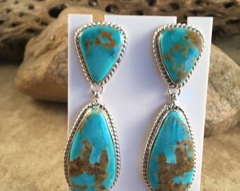 Vintage Navajo Kingman Turquoise and Sterling Silver Dangle Earrings Signed