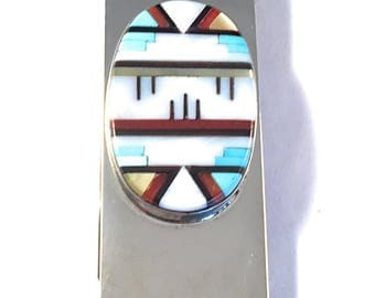Vintage Zuni Multi Stone and Sterling Silver Inlay Money Clip Signed