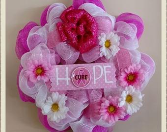 Hope Wreath, Breast Cancer Awareness Wreath, Deco Mesh Wreath, Geo Mesh Wreath