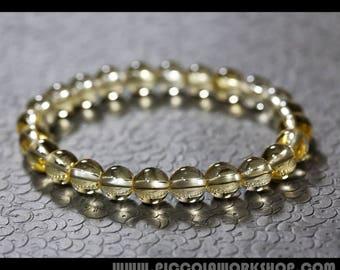 Handmade GradeAA Round Natural Citrine Beads Bracelet