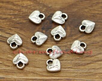 100pcs Heart Charm Tiny Small Heart Valentine Charm Antique Silver Tone 7x8mm cf0757