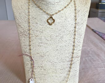 grey rosary chain necklace w/ pendant