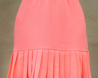 Neon Salmon-pink mini skirt with pleated ruffle. Ameynra design. Size S. New